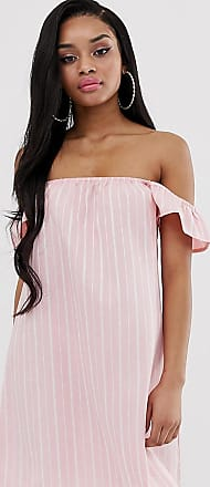 Missguided Kleid in Rosa gestreift mit Carmen-Ausschnitt-Mehrfarbig