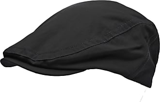 TOSKATOK Mens Shower Proof Water Resistant Flat Cap Black