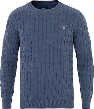 c555ad1bb6d GANT Cotton Cable Crew Dark Jeans Melange
