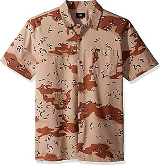 Obey Mens City Division Woven Short Sleeve Button Up Shirt, Chocolate chip camo, M