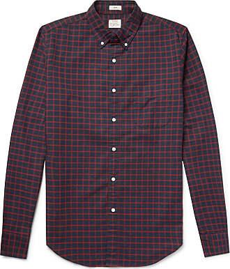 J.crew Slim-fit Button-down Collar Checked Pima Cotton Oxford Shirt - Navy
