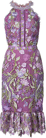 Marchesa fitted lace flower dress - Pink
