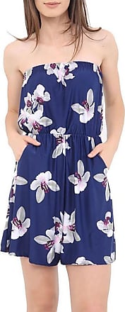 Islander Fashions Womens Boobtube Bardot Off Shoulder Short Jumpsuit Ladies Fancy Printed Playsuit White Lily Navy Medium/Large UK 12-14