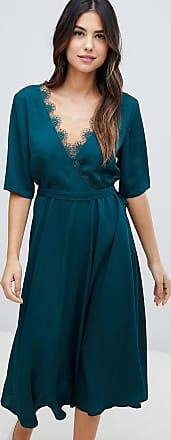 Liquorish Midi-jurk met kant-Groen