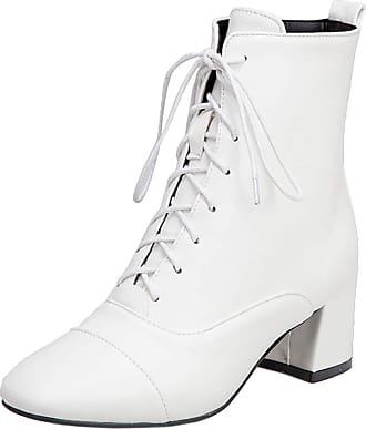 RAZAMAZA Women Simple Martin Boots Block Mid Heel Short Boots Lace Up Ankle Boots Office Dress Boots White Size 39 Asian