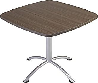 Iceberg 69727 iLand Meeting/Conferencing Table, Edgeband, 36 Square, 29 Height, Natural Teak, Silver Base