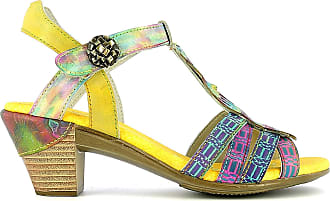 Laura Vita BECTTINOO 05, Womens Leather Sandals, Summer City Shoes, Ankle Strap with Comfortable Heel Sole - Original Style Flowers, Yellow Yellow Size: 8 UK