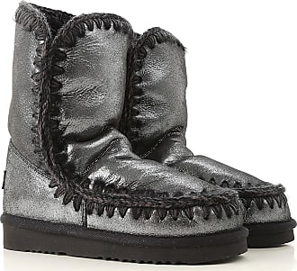 Mou Boots for Women, Booties On Sale, Limited Edition, Metallic Black, Leather, 2017, EUR 36 - UK 3 - USA 5.5