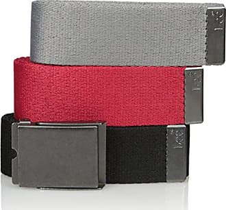 Lee Lee Mens Signature Web Belt Pack of Three, Black/red/Gray, ONE SIZE