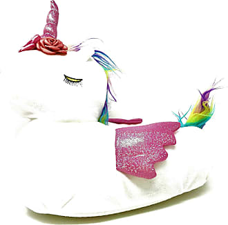 Topshop Ladies Womens Teens White Pink Fluffy 3D Novelty Unicorn Slippers Size 3-8 (5/6 UK)