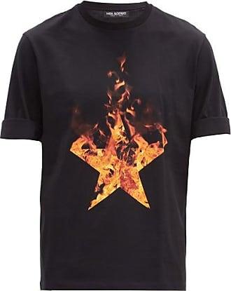 Neil Barrett Fire Star-print Cotton T-shirt - Mens - Black