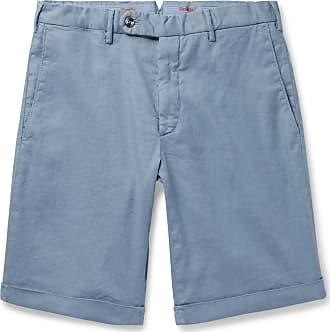 Zanella Chase Stretch Linen And Cotton-blend Shorts - Light blue