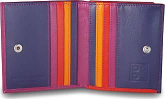 DuDu Portafoglio di pelle multicolore porta carte e monete di DUDU Fucsia