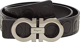 Salvatore Ferragamo Double Gancini Sized Belt 679169 (Nero) Mens Belts