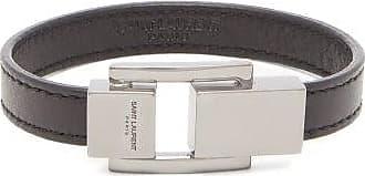 Saint Laurent Logo-engraved Clasp Leather Bracelet - Mens - Black