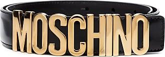 Moschino logo-plaque buckled belt - Black