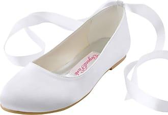 Elegantpark EP11105 Wedding Flat Shoes Women Bridal Shoes Flats Round Toe Ribbon Tie Satin Wedding Bride Shoes White UK 10(EU 43)