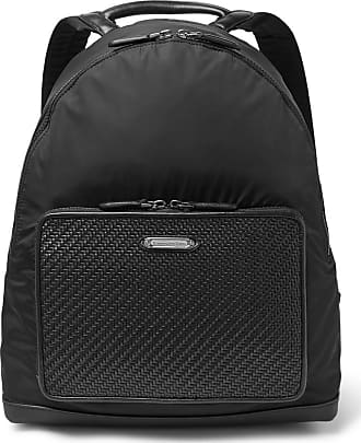 Ermenegildo Zegna Pelle Tessuta Leather And Shell Backpack - Black