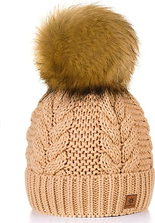 morefaz Women Ladies Winter Beanie Hat Knitted with Large Pom Pom Cap Ski Snowboard Hats (Beige)