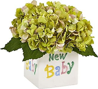 Nearly Natural 1448-GR Hydrangea in New Baby Ceramic