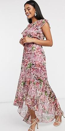 Little Mistress Maxi-Blumenkleid mit Schwalbenschwanzsaum-Mehrfarbig