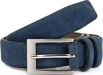 Dents Suede Leather Belt (Navy, Small)