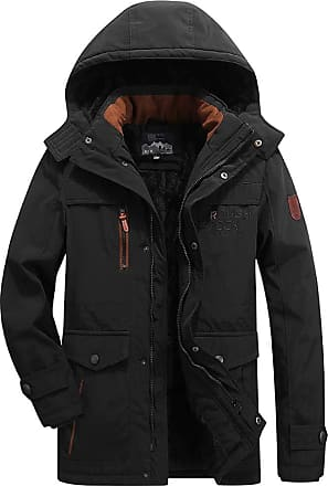 QUINTRA QUUNITRA Mens Winter Coat Medium Length Hoodie Thickened Plus Size Cotton Padded Jacket (5XL, Black)