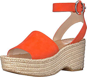 Dolce Vita Womens Lesly Espadrille Wedge Sandal, Orange Suede, 10 M US