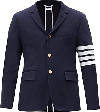 Thom Browne Four-bar Single-breasted Cotton Blazer - Mens - Navy