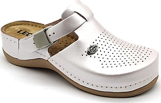 LEON PU156 Ladies Women Leather Slip On Mules Clogs Slippers Sandals White New