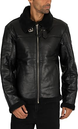 Religion Mens Pilot Leather Jacket, Black, S