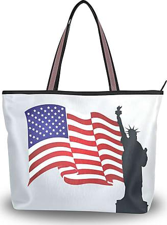 Lorona Women Usa Flag Statue Of Liberty Freedom Canvas Shoulder Hand Bag Large Capacity Tote Bag
