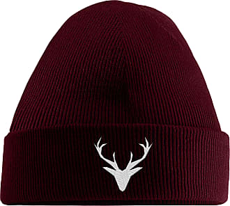 HippoWarehouse Stag Embroidered Beanie Hat Maroon