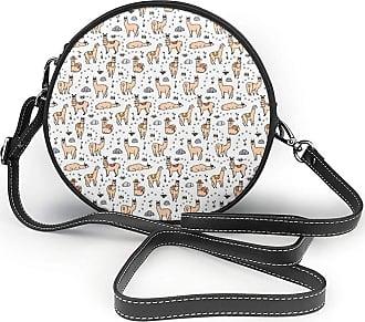 Turfed Llama Cartoon Pattern Print Fashion Round PU Crossbody Handbag Round Shoulder Bag For Women Girls