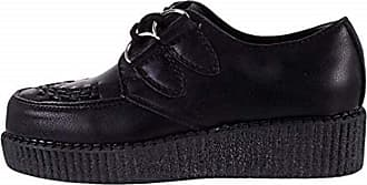 Truffle New Black Faux Suede Tartan Creepers Low Ladies Vegan Shoes Punk Rock (Numeric_9_Point_5)