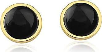 Toque De Joia Brinco semijoia círculo único pedra quartzo negro