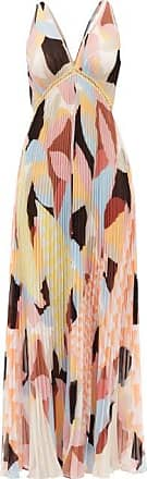 Self Portrait Self-portrait - V-neck Geo-print Plissé-georgette Maxi Dress - Womens - Multi