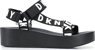 DKNY Sandália com plataforma e logo - Preto