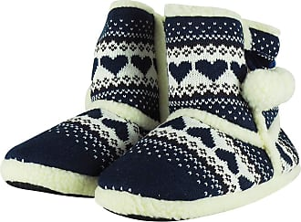MySocks Ladies Slippers Navy Heart Fairisle