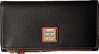 Dooney & Bourke Pebble Fold-Over Wallet (Black/Tan Trim) Wallet Handbags