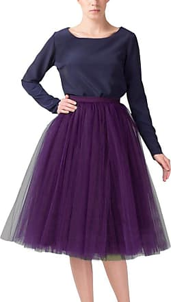 Clearbridal Womens 50s Vintage Tulle Petticoat Tutu Skirt Bridal Petticoat Underskirt for Prom Evening Wedding Party 12021 Grape