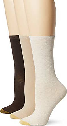 Gold Toe Womens Non-Binding Flat Knit Crew Sock 3-Pack, Oatmeal/Khaki/Brown, Shoe Size: 6-9/socks size: 9-11