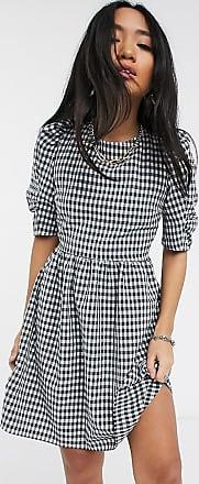Topshop Petite mini tea dress in navy gingham