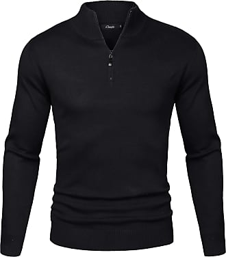 iClosam Mens Set-in Classic Sweater Pullover Jumper Knitwear ( 2 Black, XXL)