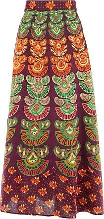 Loud Elephant Long Maxi Wrap Skirt with Block Print Mandala - Plum & Emerald Green