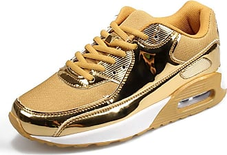 LanFengeu Men Trainers Waterproof Round Toe Lace up Low Top Sport Shoes Outdoor Lightweight Non Slip Casual Walking Running Sneakers Gold