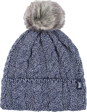 Heat Holders Ladies 1 Pack Heat Weaver Cable Knit Pom Pom Hat - Navy - One Size