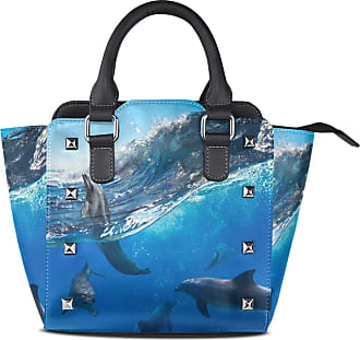 NaiiaN Leather Ocean Sea Wave Animal Dolphin Handbags Light Weight Strap for Women Girls Ladies Student Cup Tote Bag Shoulder Bags Purse Shopping