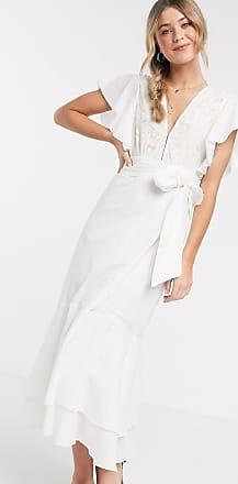 Cleobella Seville - Midi-jurk met strikceintuur in wit