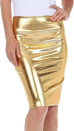 Top Fashion18 Top Fashion Women Wetlook PVC Metallic Leather Shiny Liquid High Waist Pencil Midi Skirt UK Size 8-18 Gold